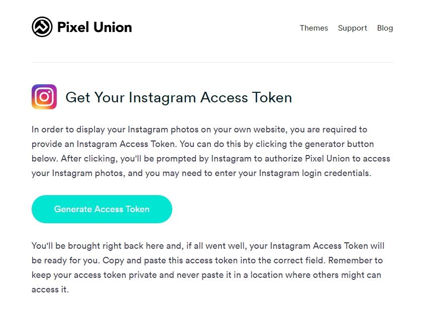 pixelunion получить Access Token instagram