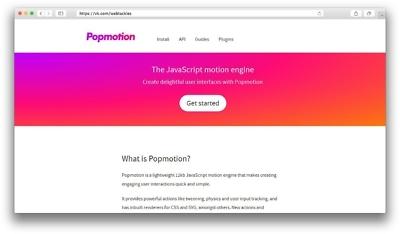 Popmotion - JS-библиотека для оживления интерфейсов